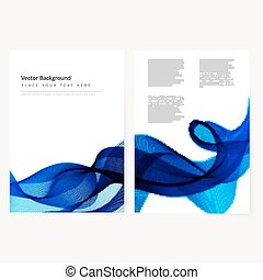Abstract template horizontal banner with transparent waves