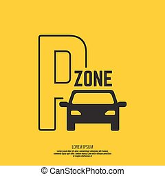 Pointer to the car parking zone. Vector icon