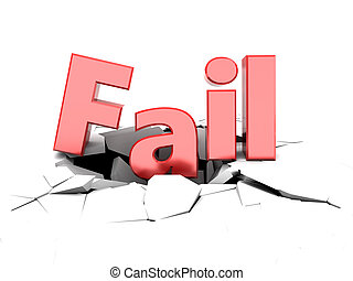 fail sign - 3d illustration of fail sign on cracked white...