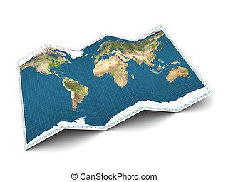 world map - 3d illustration of world map over white...