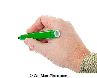 man\'s hand holding a green felt-tip on white