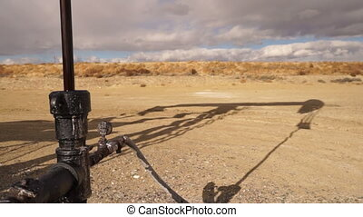 Pump Jack Shaft With Oil Well Shadow Dirt Wyoming - The...