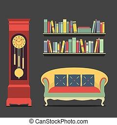 interno, vivente, stanza, disegno