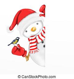 snowman with little bird