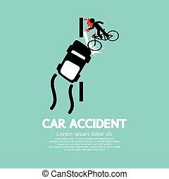 Car Accident With Bicycle - Car Accident With Bicycle Vector...