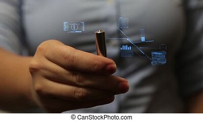 Hand hold battery - hand hold battery with hologram