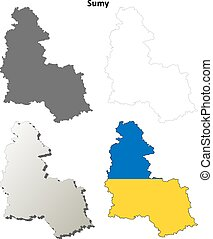 Sumy blank outline map set - Sumy oblast blank detailed...