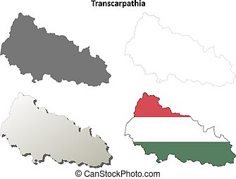 Transcarpathia blank outline map set - Hungarian version -...