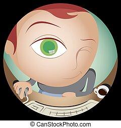 Geek Looking Thru Webcam Fish Eye - Fish eye vision of...