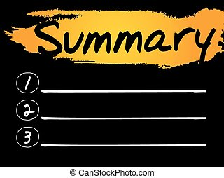 Summary Blank List, vector concept background