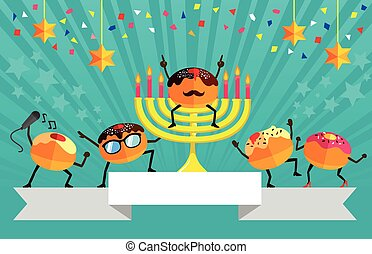 Hanukkah party - festive design for Hanukkah with cartoon...