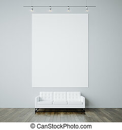 Photo of blank white canvas on the gray wall background and...