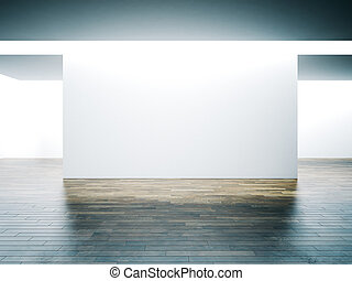 Big white wall in museum interior with wooden floor. 3d...