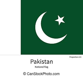 National flag of Pakistan with correct proportions, element,...
