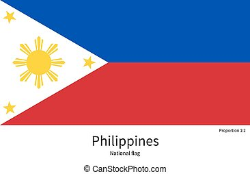 National flag of Philippines with correct proportions,...