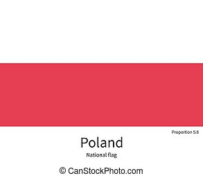 National flag of Poland with correct proportions, element,...