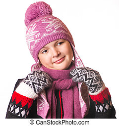 portrait of the girl in winter clothing of emotion - the...