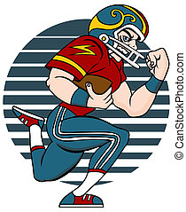 Football Player - Cartoon of Football player isolated on a...