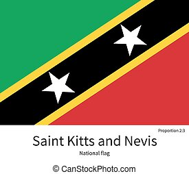 National flag of Saint Kitts and Nevis with correct proportions, element, colors