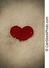 Red Heart in Frosty White Snow - Vintage