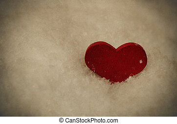Red Heart in Snow - Vintage