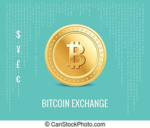 bitcoin exchange icon on the digital blue background -...