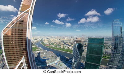 Skyscrapers of Moscow City business complex and river timelapse.