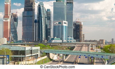 Skyscrapers International Business Center City at cloudy day timelapse, Moscow, Russia