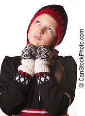 portrait of the girl in winter clothing of emotion -...