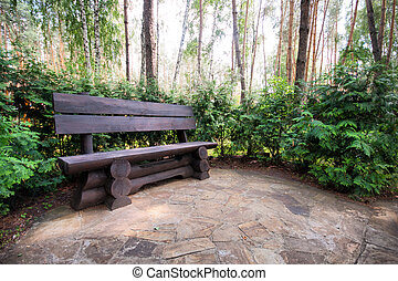 Old wooden bench in summer park