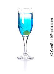 Blue Cocktail on white gorund