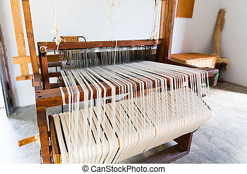 Shuttleless loom - Old shuttleless loom with black and white...