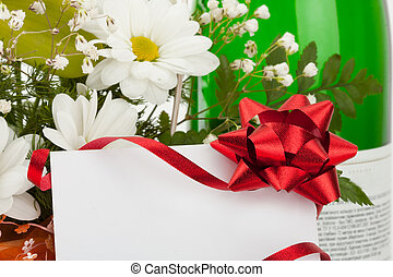 Bouquet of flowers with card
