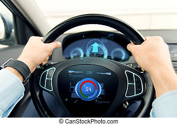 close up of man driving car with volume level icon -...