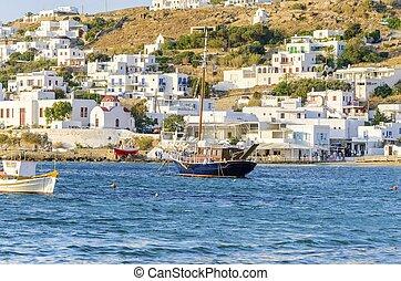 Chora, puerto, Mykonos, grecia,