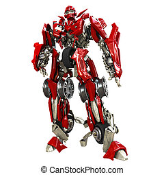 Robot Transformer isolated on white background. 3d rendered