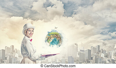 Book that develope your imagination - Young woman in white...