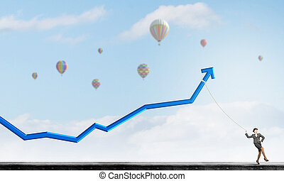 Income growth motivation - Businesswoman pulling arrow with...