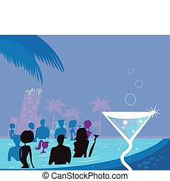 Water party night: People in pool & fresh Martini drink