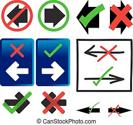 Right and Wrong Way Icons