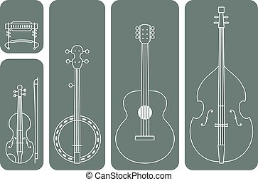 Country Music Instruments - Line Drawing Vector Illustration...