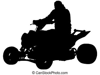 Quad - Silhouettes athletes ATV during races