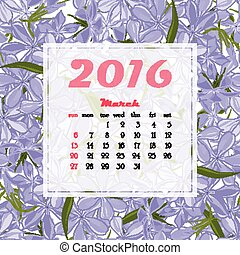 2016 Calendar decorated with flower seamless background....
