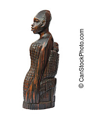 african woman with child statuette - Wooden carved african...