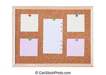 Blank Paper Notes on Corkboard - Pieces of note paper on a...