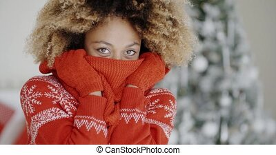 Fashionable young woman at Christmas - Fashionable young...