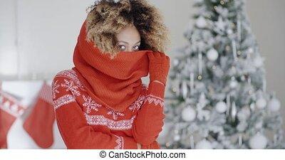 Fashionable young woman at Christmas - Fashionable young...