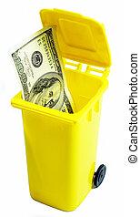 100 dollar bill in a trash