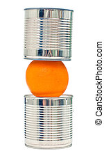Food pyramid - Metal cans and orange isolated on white...