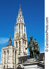 Rubens in Antwerp - The statue of the painter Peter Paul...